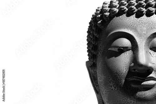 Tuinposter Boeddha face of buddha statue isolated on white background