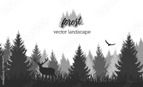 Spoed Foto op Canvas Wit Vector vintage forest landscape with black and white silhouettes of trees and wild animals