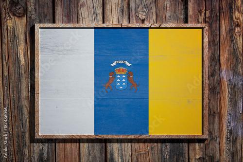Fotografia  Wooden Canarias flag