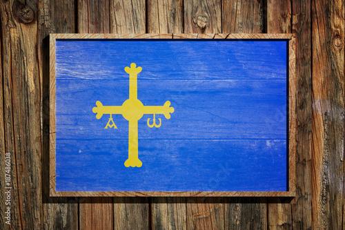 Wooden Asturias flag