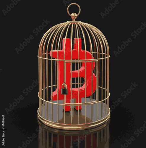 Fotografie, Obraz  Gold Cage with Bitcoin sign. Image with clipping path
