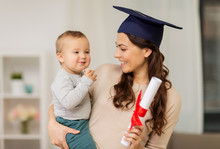 Mother Student With Baby Boy A...