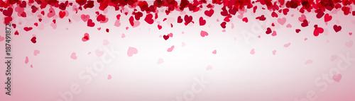 Love valentine's banner with pink hearts. © Vjom