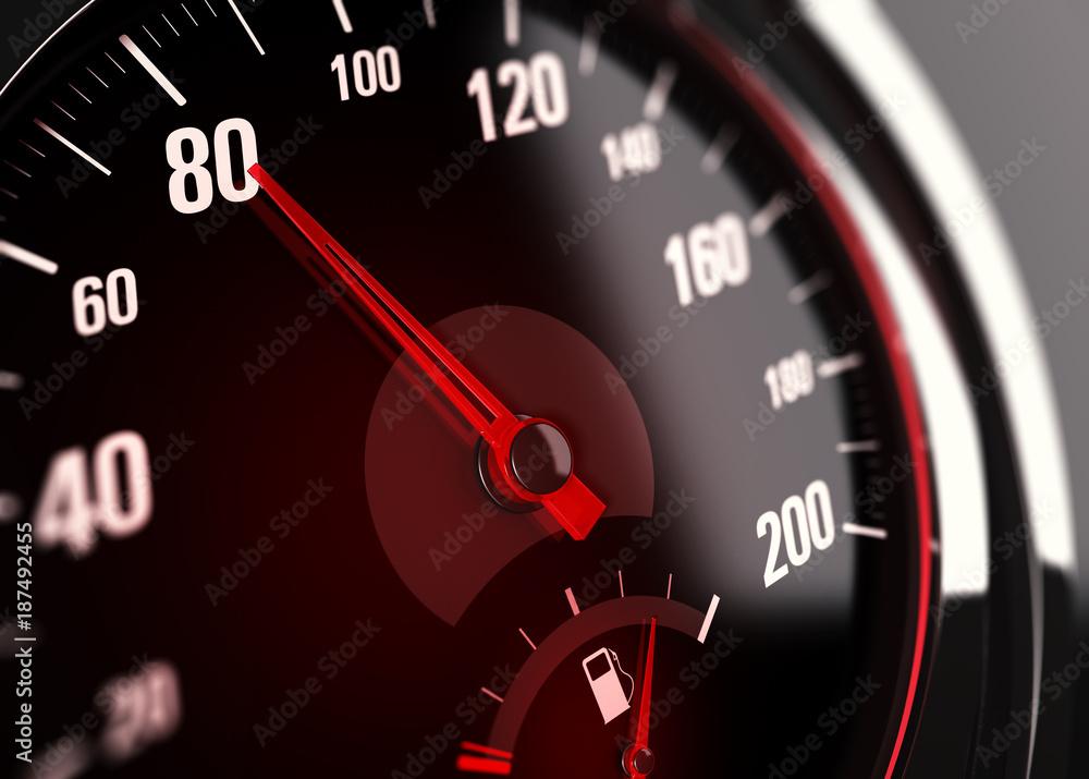 Fototapeta Limitation de vitesse à 80 km/h, Compteur de véhicule