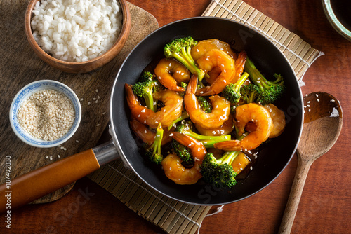 Shrimp Teriyaki with Broccoli and Sesame Seeds