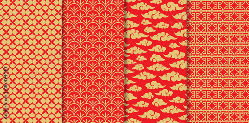 Fotografía  Chinese pattern set. Decorative background,illustration EPS10.