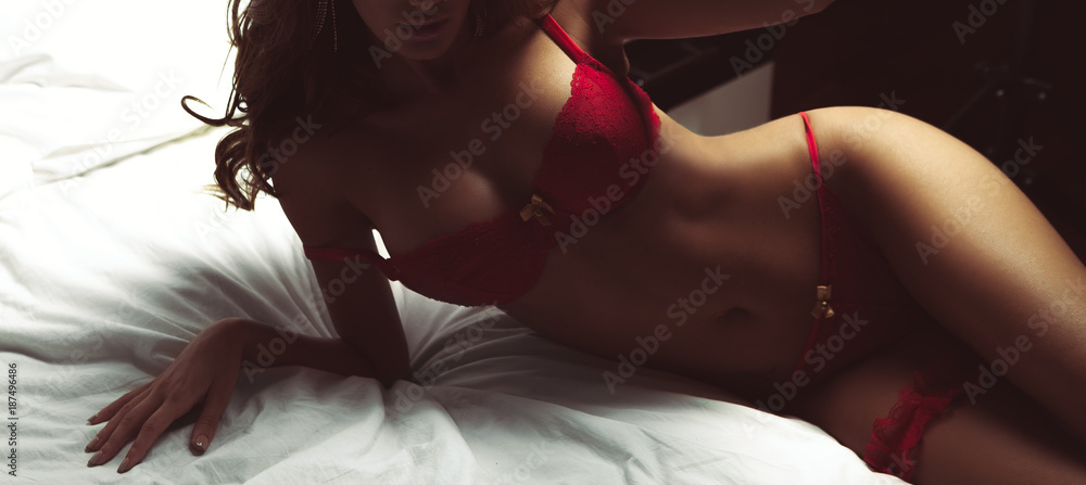 Fototapety, obrazy: Sexy hot body of woman posing erotic lingerie on bed