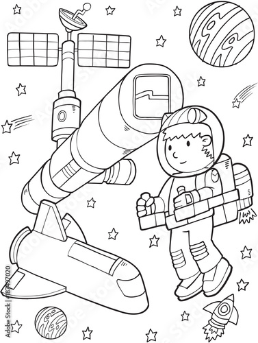 Astronaut Space Station Vector Illustration Art