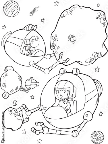 Staande foto Cartoon draw Outer Space Mining Vector Illustration Art