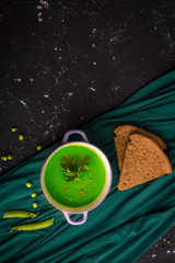 Pea soup. Preparation of natural food