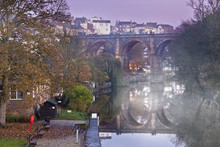 Knaresborough At Misty Dusk, Yorkshire, England, UK