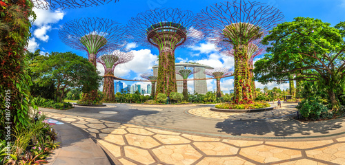 panoramaaufnahme-der-skyline-von-singapur-aus-den-gardens-by-the-bay-mit-supertrees-fotografiert-tagsuber-bei-sonnenschein-im-februar-2015