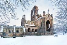 Kirkstall Abbey In Snowy Morning, Leeds, Yorkshire, England, UK