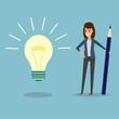 businesswoman, pencil, idea bulb