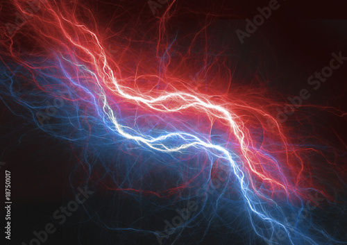 Photo Fire and ice lightning plasma background, electrical abstract