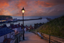 Whitby At Dusk, Yorkshire, England, UK