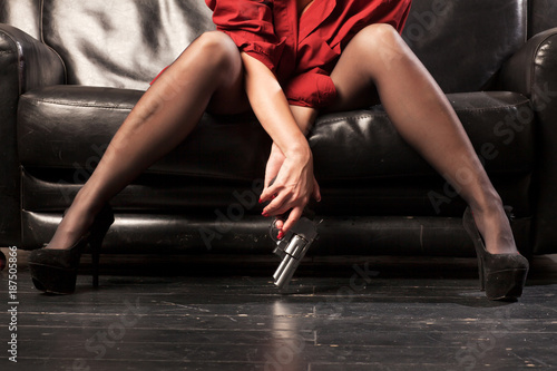 Fotografie, Tablou Female legs and revolver