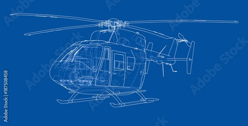 Outline drawing of helicopter Canvas Print