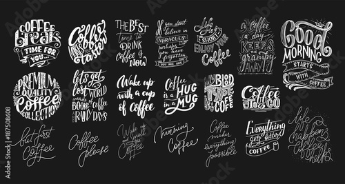 Photo  Set of Hand lettering quotes with sketches for coffee shop or cafe