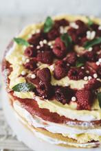 Raspberry Cake And Flowers