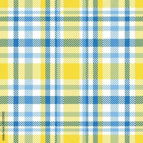 Plaid check pattern in shades of blue, bright yellow and