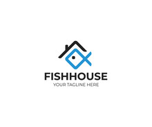 House Roof And Fish Logo Templ...