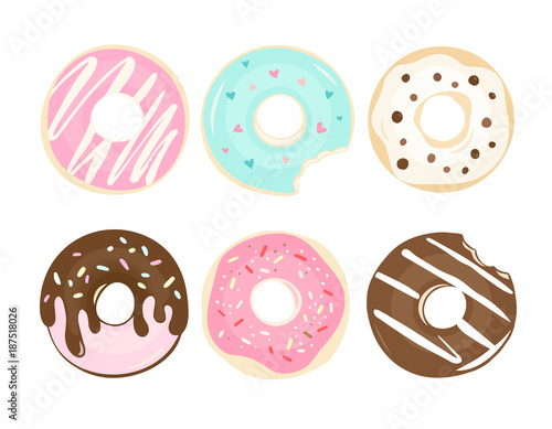 Photo Set of color hand drawn donuts in modern flat style