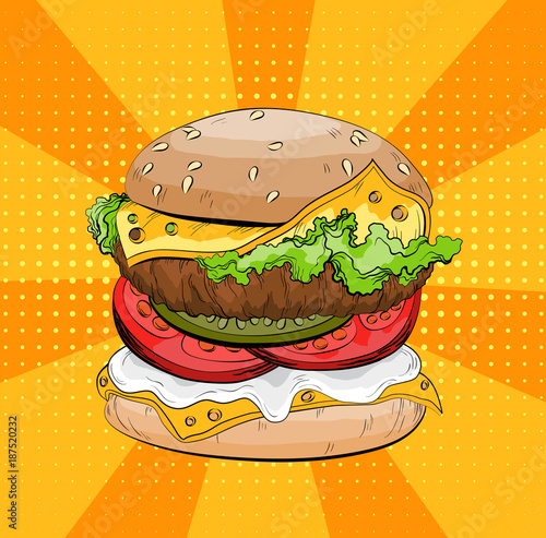 Poster Pop Art Classic burger on a pop art background. Colorful Big sandwich