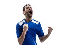 Soccer Fan Celebrating On Whit...