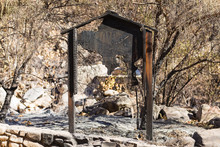 Trailhead Sign Damaged By The Thomas Fire Along The Pratt Trail In Ojai, California