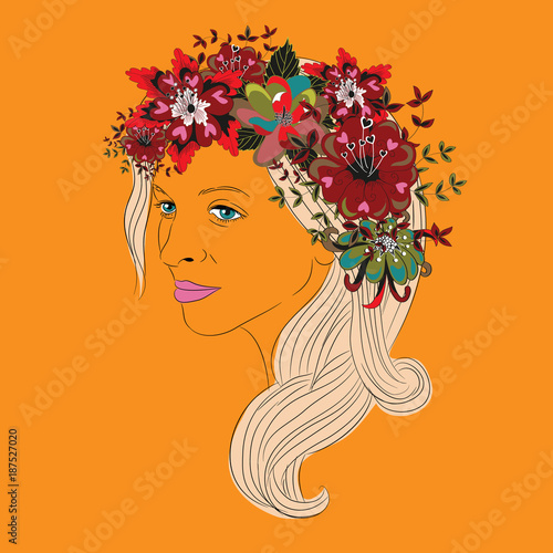 Photo Stands Floral woman Young woman's face with long hair and big beautiful floral wreath with heart leaves. Vector illustration on orange background