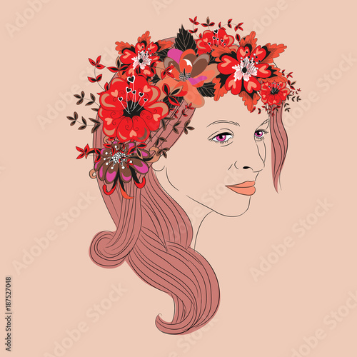 Recess Fitting Floral woman Young woman with long hair and floral wreath with heart leaves. Vector illustration on vintage pink background