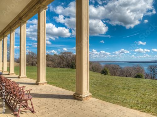 Fényképezés  Sunny terrace overlooking the Potomac river, Mount Vernon, VA, USA