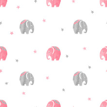 Cute Watercolor Elephants Patt...