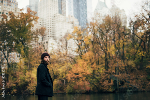 Man alone in Central Park
