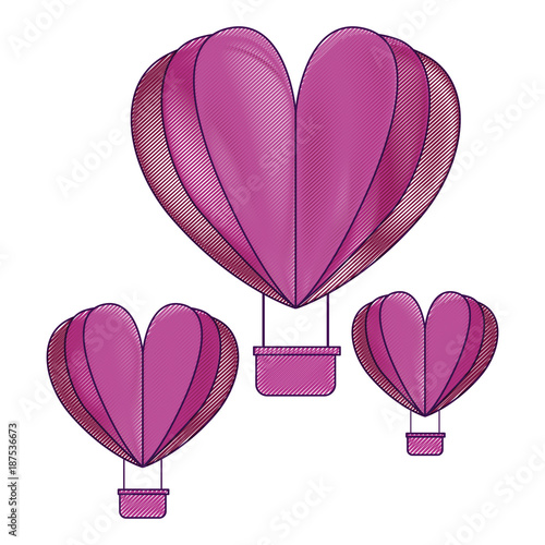 hot air balloons flying with heart shape vector illustration design