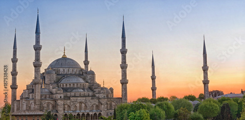 Poster Turkey Sultan Ahmed Mosque in Istanbul. Turkey