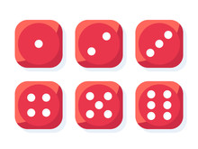 Craps. Red Dice Vector Illustration