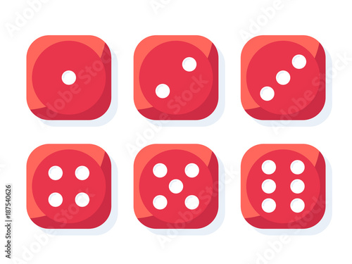 Craps. Red dice vector illustration Wallpaper Mural