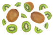 canvas print picture - sliced kiwi fruit isolated on white background. Flat lay pattern. Top view