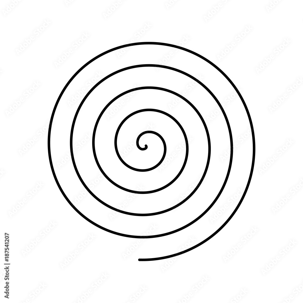 Fototapeta Thin black spiral symbol. Simple flat vector design element.