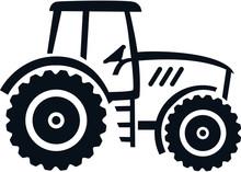 Farmer Tractor Drawn White