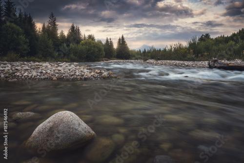 Printed kitchen splashbacks River Bela River with Krivan Peak in Background at Sunset in Slovakia