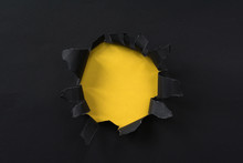 Black Torn Paper And Yellow Pa...