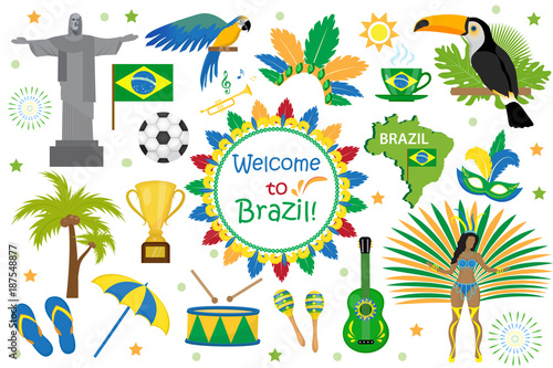 Brazilian carnival icons flat style. Brazil country travel tourism. Collection of design elements, culture symbols with toucan, parrot, rio de jeneiro monument, carnival costume. Vector illustration