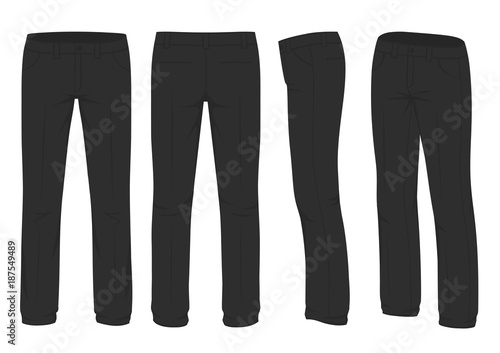 Fotografie, Obraz  vector illustration of a men fashion, suit uniform, back side view of pants