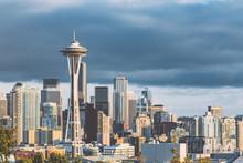 Sunset View Of Seattle Skyline, WA, USA
