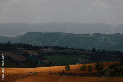 Tuinposter Donkergrijs Countryside landscape