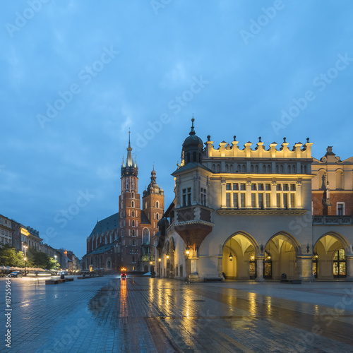 Cracow (Krakow), Poland - The Main Square with St Mary's Basilica