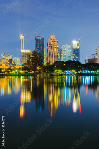 Photo Stands Kuala Lumpur city night view at Benjakitti Park, Bangkok, Thailand